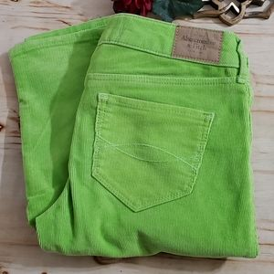 Abercrombie & Fitch Bright Green Corduroy Pants